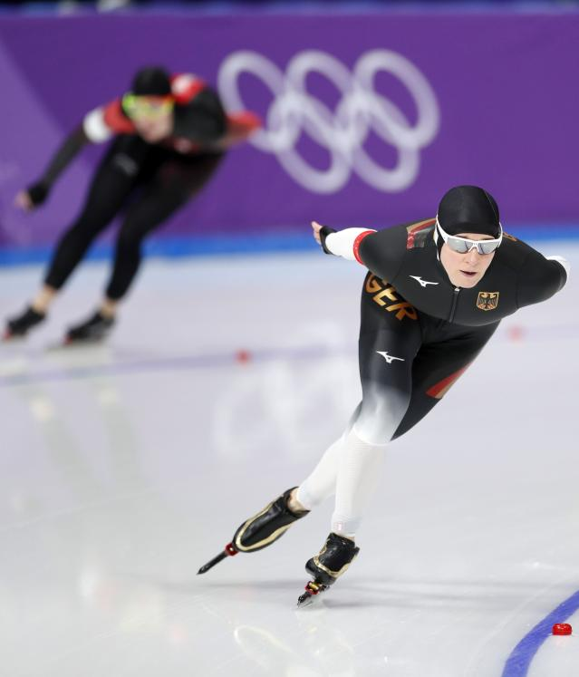 Speed Skating - Pyeongchang 2018 Winter Olympics - Women's 5000 m competition finals - Gangneung Oval - Gangneung, South Korea - February 16, 2018 - Claudia Pechstein of Germany competes. REUTERS/John Sibley