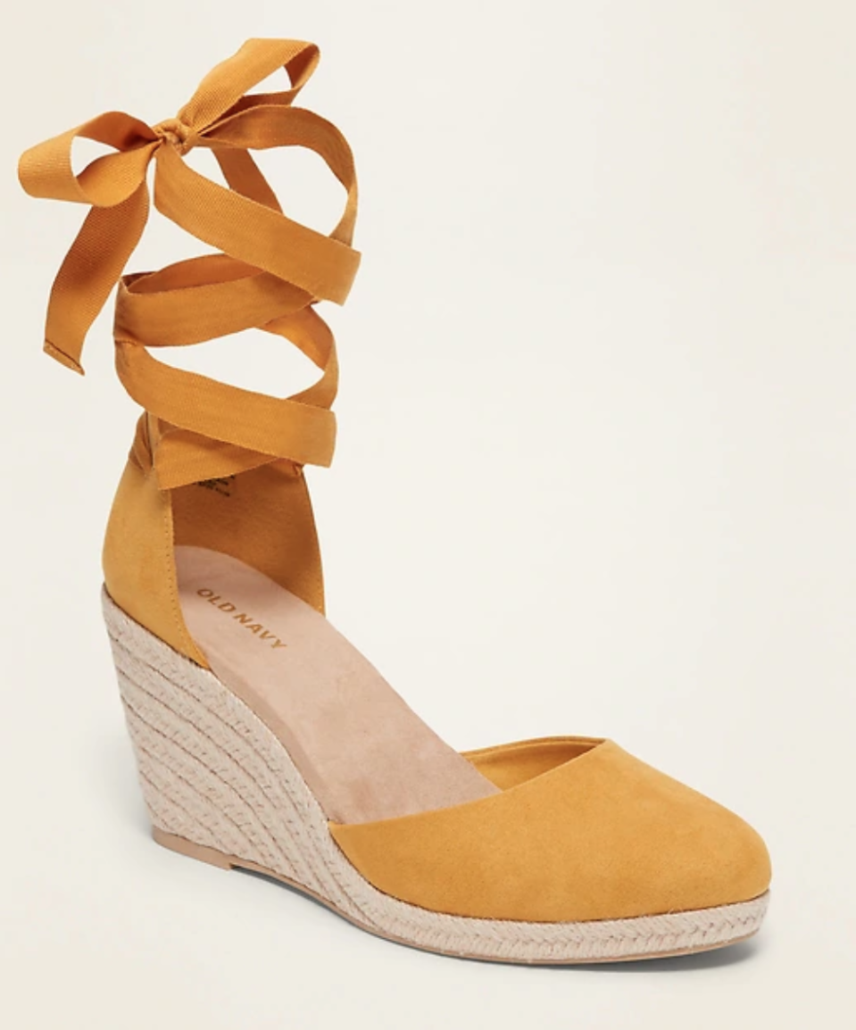 Faux-Suede Strappy Lace-Up Espadrille Wedge Shoes. Image via Old Navy.