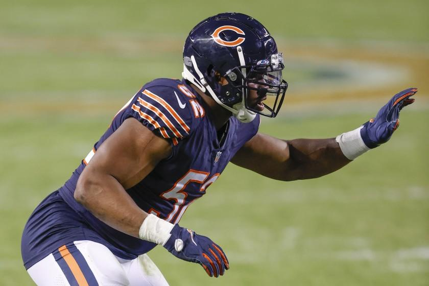 Chicago Bears outside linebacker Khalil Mack (52) defends against the Tampa Bay Buccaneers during the second half of an NFL football game, Thursday, Oct. 8, 2020, in Chicago. (AP Photo/Kamil Krzaczynski)
