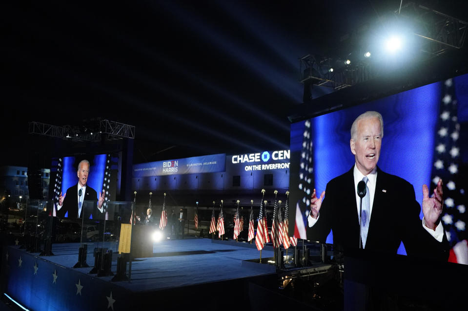 President-elect Joe Biden speaks, Saturday, Nov. 7, 2020, in Wilmington, Del. (AP Photo/Andrew Harnik)
