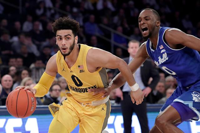 Marquette point guard Markus Howard is the Big East player of the year. Two of the top-10 scorers in the country meet in a 5-12 NCAA Tournament game in the West Region. (AP)
