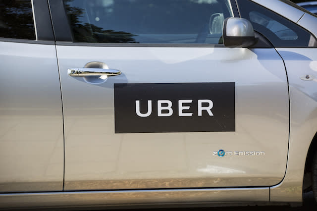 Stock photo of an Uber sign.  Uber launches the first electric cars in London today. PRESS ASSOCIATION Photo. Picture date: Tuesday 30 August, 2016. Photo credit should read: Laura Dale/PA Wire
