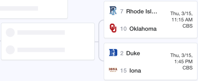 Rhode Island could meet Duke in the second round of the NCAA tournament. (Yahoo Sports)
