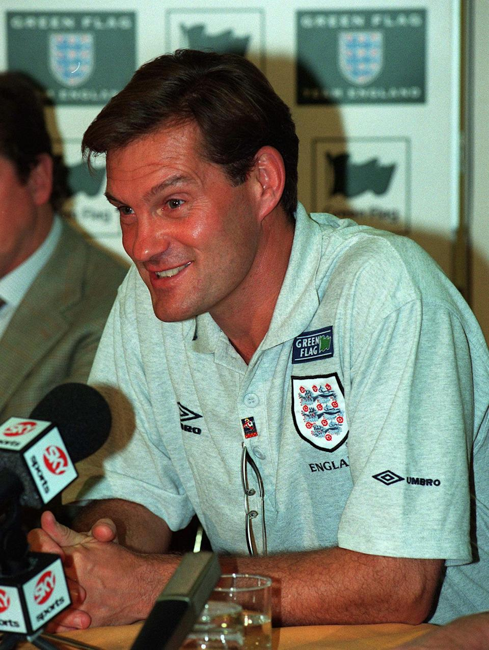 England's national soccer team coach Glenn Hoddle answers journalists' questions at a press conference in Rome's Capital Hotel, Friday October 10, 1997. England will play against Italy Saturday night October 11 in Rome's Stadio Olimpico, for World cup qualifying match. (AP Photo/Angelo Scipioni)