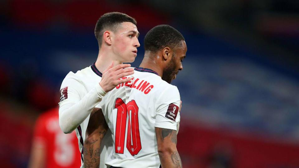 Raheem Sterling e Phil Foden | Catherine Ivill/Getty Images