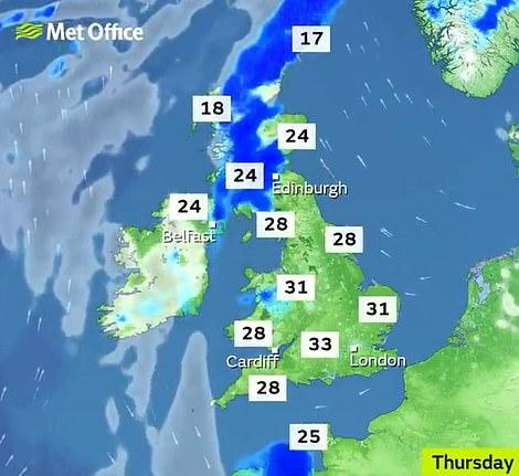 The mercury is predicted to rise to 33 degrees Celcius - 91 degrees Farenheit - on Thursday in some parts of England (Met Office)