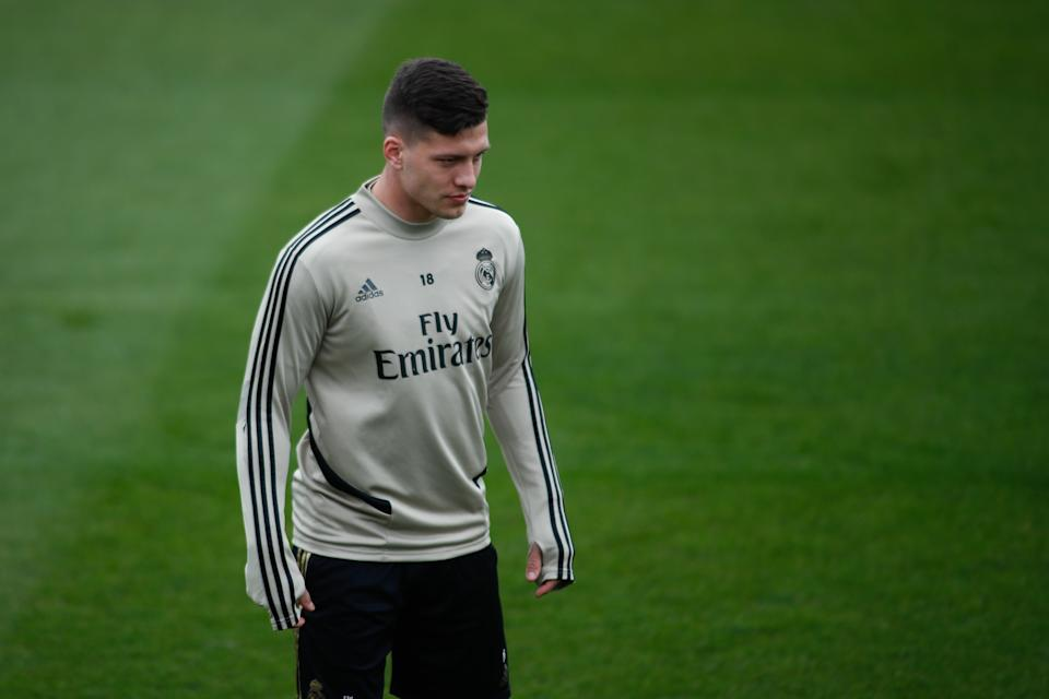 """VALDEBEBAS, SPAIN - FEBRUARY 29: Luka Jovic of Real Madrid looks on during the training session of Real Madrid at Ciudad Deportiva Real Madrid before """"the classic"""" football match of spanish league, La Liga, on February 29, 2020 in Valdebebas, Spain. (Photo by Oscar J. Barroso / AFP7 / Europa Press Sports via Getty Images)"""