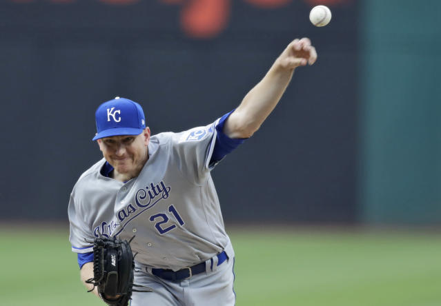 Kansas City Royals starting pitcher Mike Montgomery delivers in the first inning of the team's baseball game against the Cleveland Indians, Friday, July 19, 2019, in Cleveland. (AP Photo/Tony Dejak)