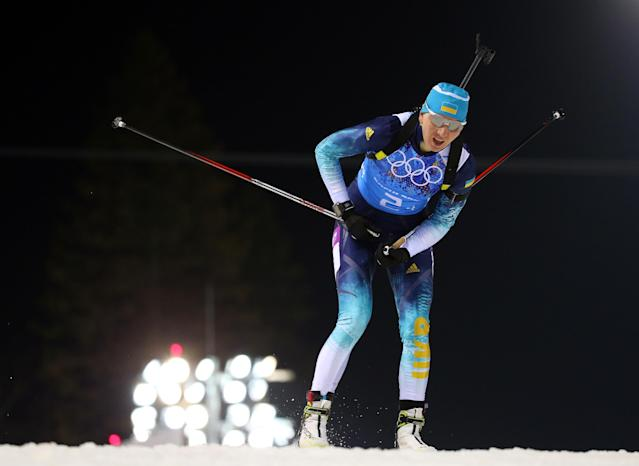SOCHI, RUSSIA - FEBRUARY 21: Olena Pidhrushna of Ukraine competes during the Biathlon Women's 4 x 6 km Relay on day 14 of the Sochi 2014 Winter Olympics at Laura Cross-country Ski & Biathlon Center on February 21, 2014 in Sochi, Russia. (Photo by Robert Cianflone/Getty Images)