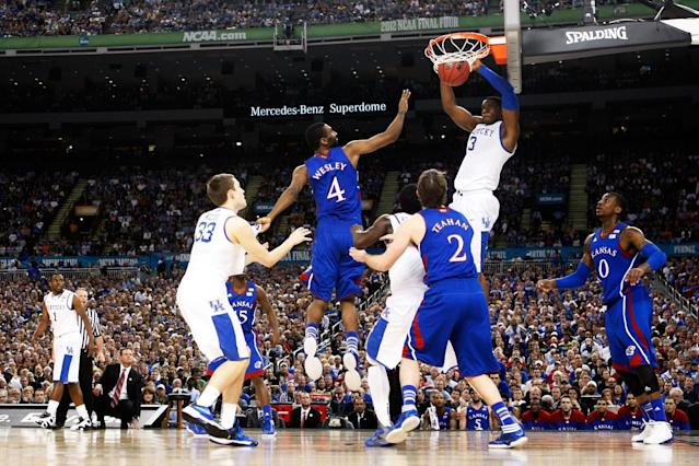 Terrence Jones #3 of the Kentucky Wildcats dunks the ball in the first half against the Kansas Jayhawks in the National Championship Game of the 2012 NCAA Division I Men's Basketball Tournament at the Mercedes-Benz Superdome on April 2, 2012 in New Orleans, Louisiana. (Photo by Jeff Gross/Getty Images)