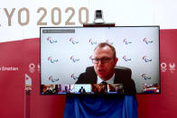Chief brand and communications officer of IOC Craig Spence speaks during an online press briefing for the presentation of the version three of Tokyo 2020 Playbook in Tokyo, Tuesday, June 15, 2021. (Behrouz Mehri/Pool Photo via AP)