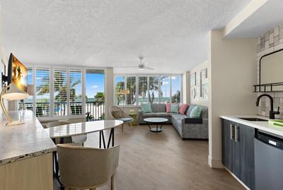 Oceanfront guest suite at the new Bellwether Beach Resort in St. Pete Beach, Florida.