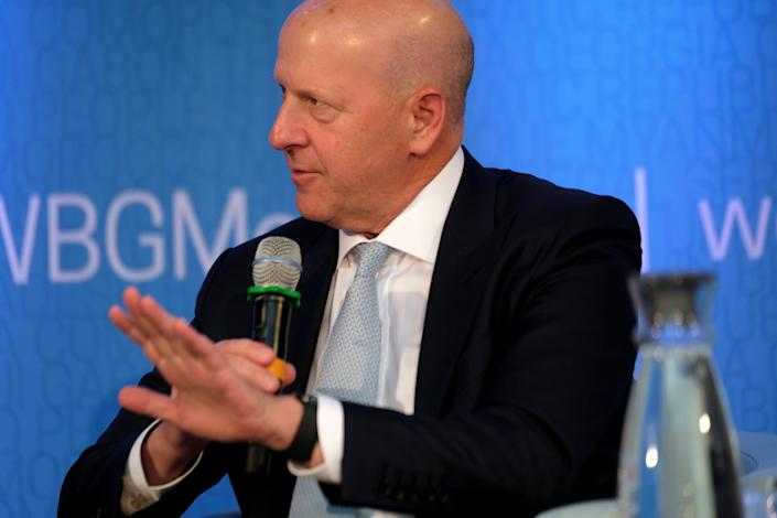 Goldman Sachs CEO David Solomon speaks on a panel at the annual meetings of the International Monetary Fund and World Bank in Washington, U.S., October 18, 2019. REUTERS/James Lawler Duggan