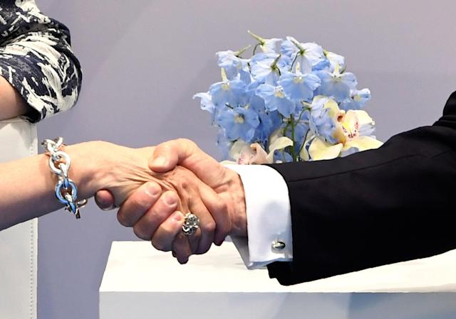 <p>President Donald Trump and British Prime Minister Theresa May shake hands during a bilateral meeting on the sidelines of the G20 Summit in Hamburg, Germany, July 8, 2017. (Photo: Saul Loeb /AFP/Getty Images) </p>