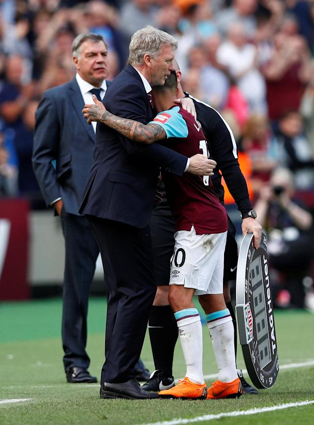 "Soccer Football - Premier League - West Ham United vs Everton - London Stadium, London, Britain - May 13, 2018 West Ham United manager David Moyes and Manuel Lanzini REUTERS/Eddie Keogh EDITORIAL USE ONLY. No use with unauthorized audio, video, data, fixture lists, club/league logos or ""live"" services. Online in-match use limited to 75 images, no video emulation. No use in betting, games or single club/league/player publications. Please contact your account representative for further details."