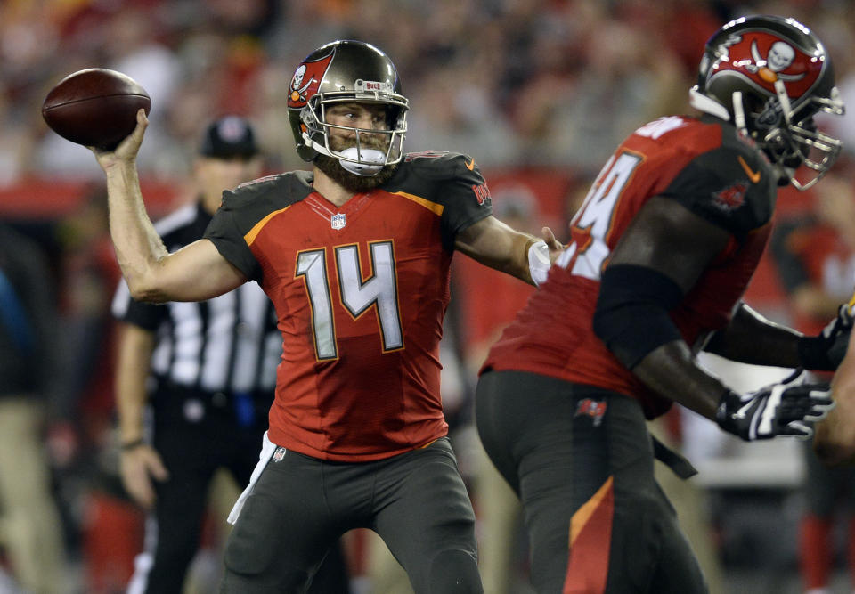 Tampa Bay Buccaneers quarterback Ryan Fitzpatrick was benched on Monday. (AP)