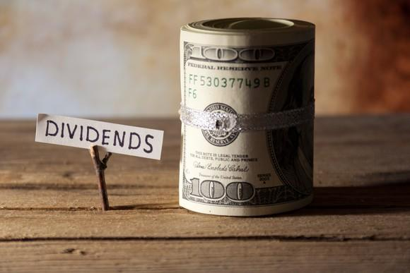 A roll of $100 bills next to a sign reading dividends.