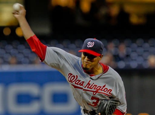 Washington Nationals starting pitcher Edwin Jackson delivers to the San Diego Padres during the first inning of a baseball game on Thursday, April 26, 2012, in San Diego. (AP Photo/Lenny Ignelzi)