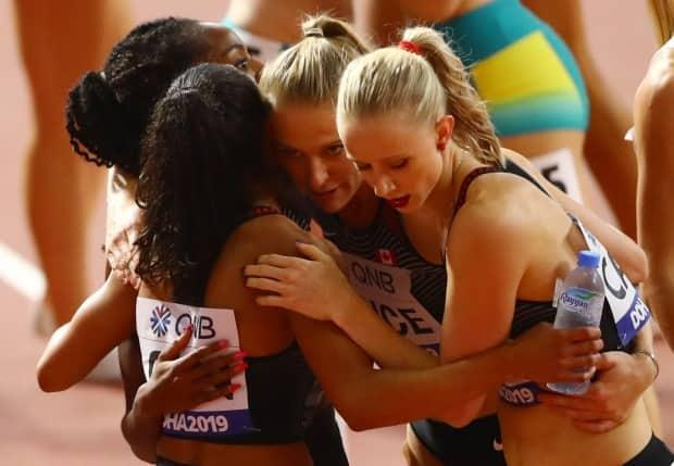 Canada has pulled out of the World Relays, scheduled for May 1-2 in Poland, citing COVID-19 concerns. Only the women's 4x400-metre squad, pictured, is guaranteed to be at the starting line for Canada at the Tokyo Olympics in July. (Ahmed Jadallah/Reuters/File - image credit)