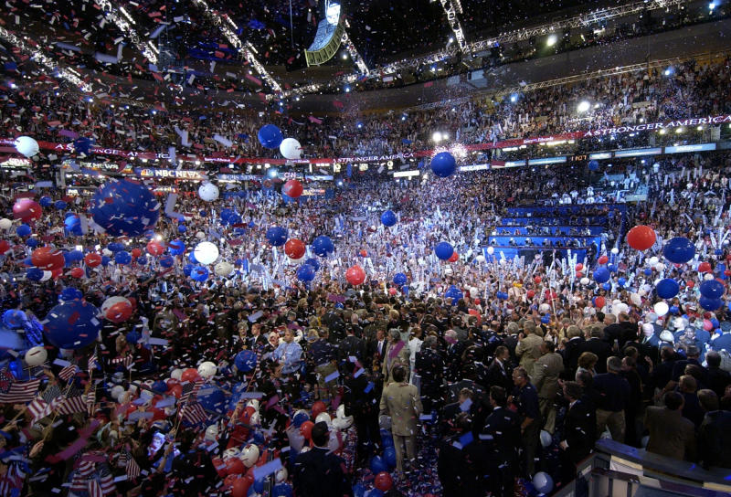 FILE - In this July 29, 2004 file photo, balloons and confetti blizzard the FleetCenter in Boston at the end of the Democratic National Convention. With a threat of rain, there will be no downpour of balloons. A Democratic convention official says the finale at the Democratic National Convention will miss the traditional massive balloon drop after President Barack Obama delivers his nomination acceptance speech. (AP Photo/Charlie Neibergall, File)