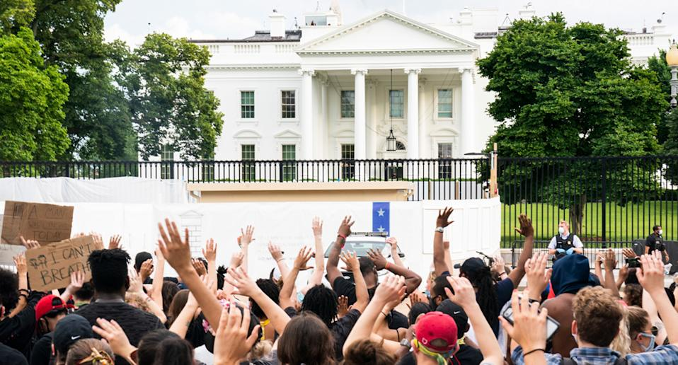 Protesters gathered outside the White House during a protest over the death of George Floyd.