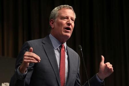 FILE PHOTO: New York City Mayor Bill de Blasio speaks at the 2019 National Action Network National Convention in New York, U.S., April 3, 2019. REUTERS/Shannon Stapleton