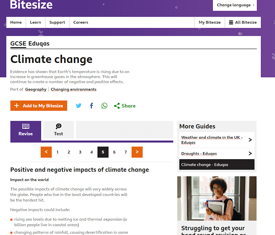 """A GCSE study aide on the BBC Bitesize website lists """"warmer temperatures and increased CO2 levels"""" among the """"positives"""" of climate change (BBC Bitesize)"""