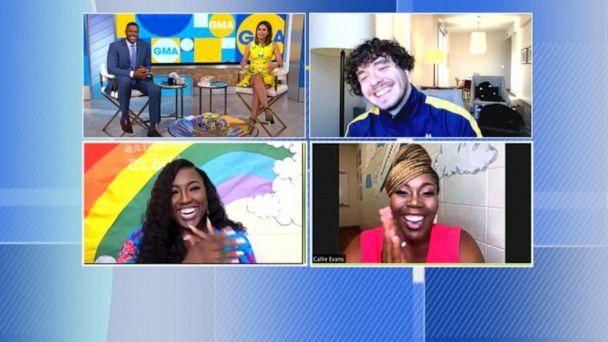 PHOTO: Jack Harlow surprised Audrianna Williams and Callie Evans live on 'GMA' to chat about their back to school rap. (ABC News)
