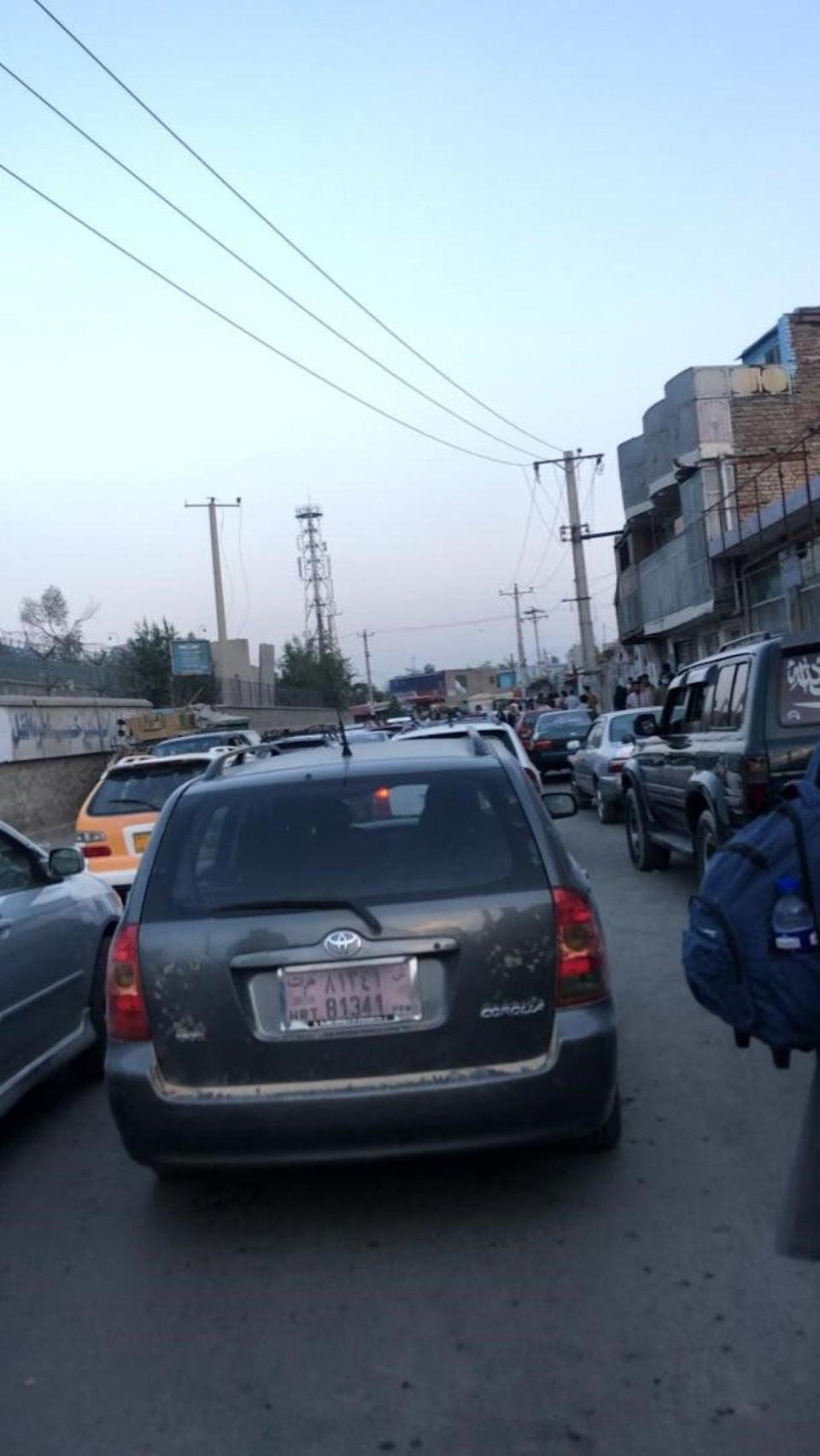Gridlocked traffic on the road to Kabul airport (PA)