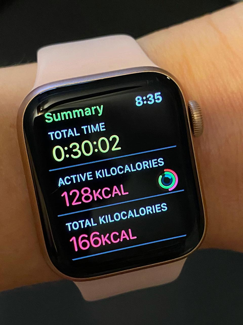 """<p>Here's what the Apple Watch screen looked like when I ended the dance workout. It tracks workout time, active calories, and total calories. <a href=""""https://www.popsugar.com/fitness/Active-Calories-vs-Total-Calories-45268672"""" class=""""link rapid-noclick-resp"""" rel=""""nofollow noopener"""" target=""""_blank"""" data-ylk=""""slk:Active calories"""">Active calories</a> are those you burn while actually exercising (in this case, dancing). Total calories include both active calories and resting calories, which are those your body burns when you perform basic functions like breathing and as you go throughout your day.</p>"""