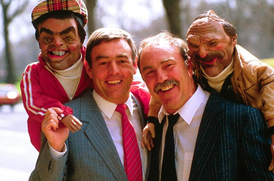 Saint and Greavsie with their Spitting Image puppets - Today/Shutterstock