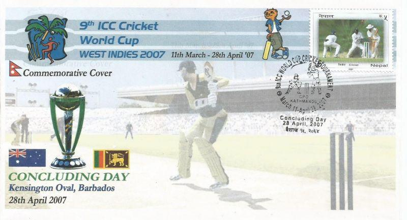 Special cover of Nepal on concluding day of 2007 Cricket World Cup.
