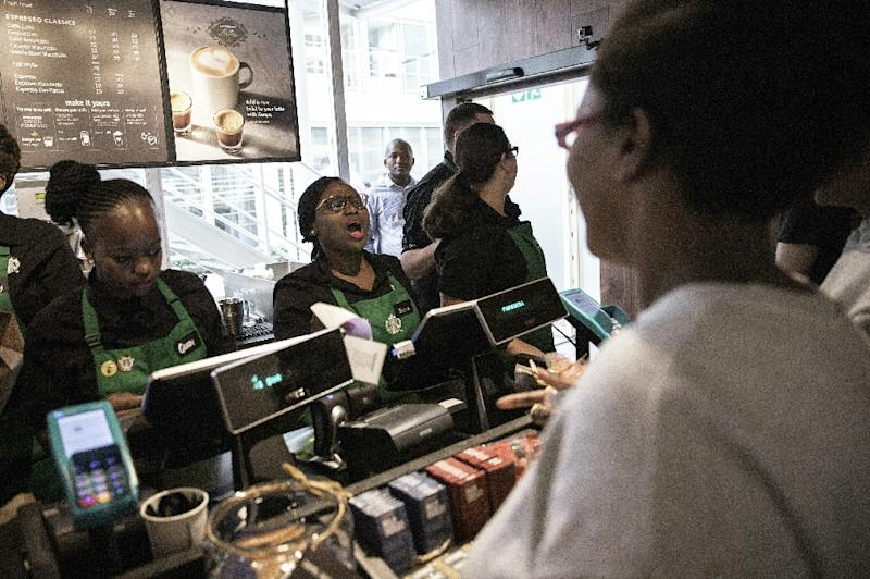 The opening of Starbucks' first store in the Rosebank district of Johannesburg in April 2016 attracted big crowds
