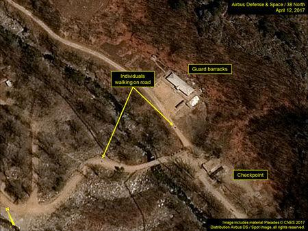 North Korea's Punggye-ri Nuclear Test Site is seen in commercial satellite imagery taken April 12, 2017. Image includes material Pleiades (c) CNES 2017.  Distribution Airbus DS/Spot Image, all rights reserved.  Courtesy Airbus Defense & Space and 38 North/Handout via REUTERS