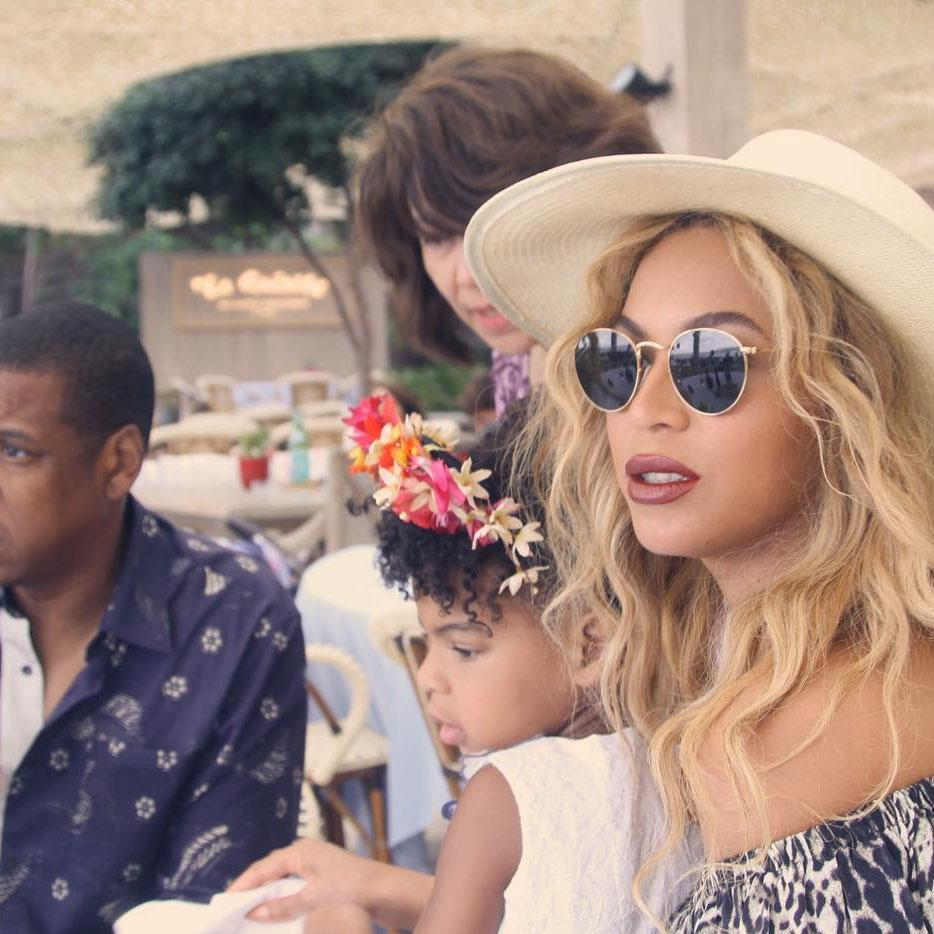 <p>Blue Ivy and Beyonce both chose boho-chic looks for this sunny outdoor outing. </p>