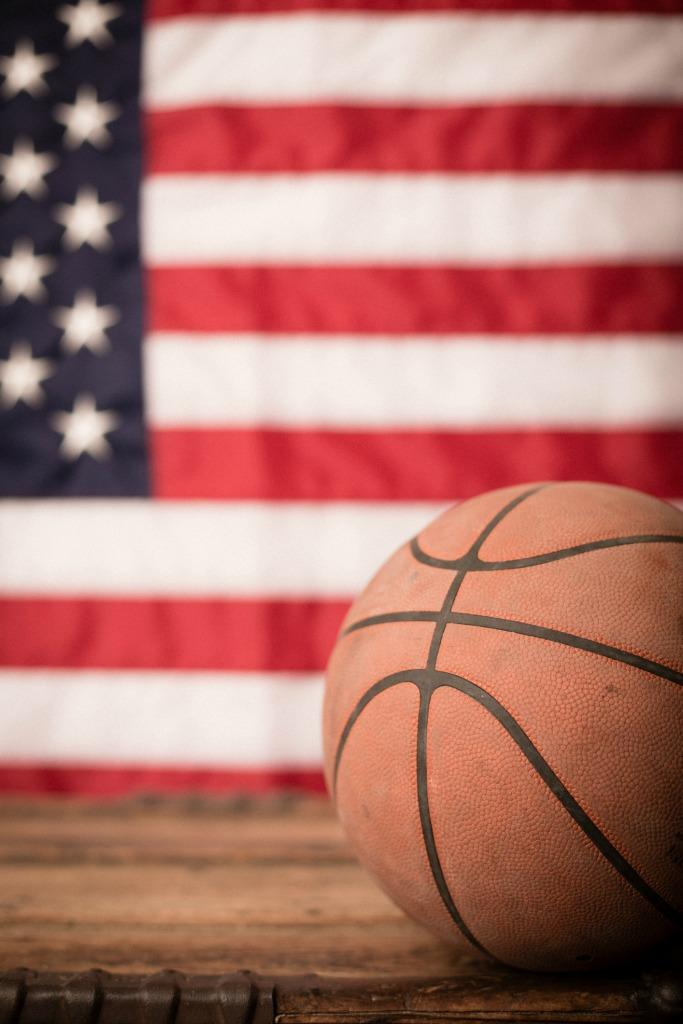 Students at an Iowa high school wore U.S.-flag colors to a basketball game