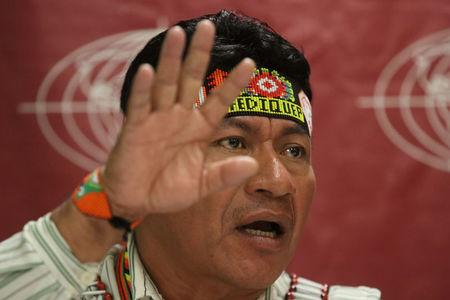 Aurelio Chino, president of Amazon's native communities of the Pastaza basin, speaks during a news conference with the foreign media in Lima, Peru, August 22, 2017. REUTERS/Guadalupe Pardo