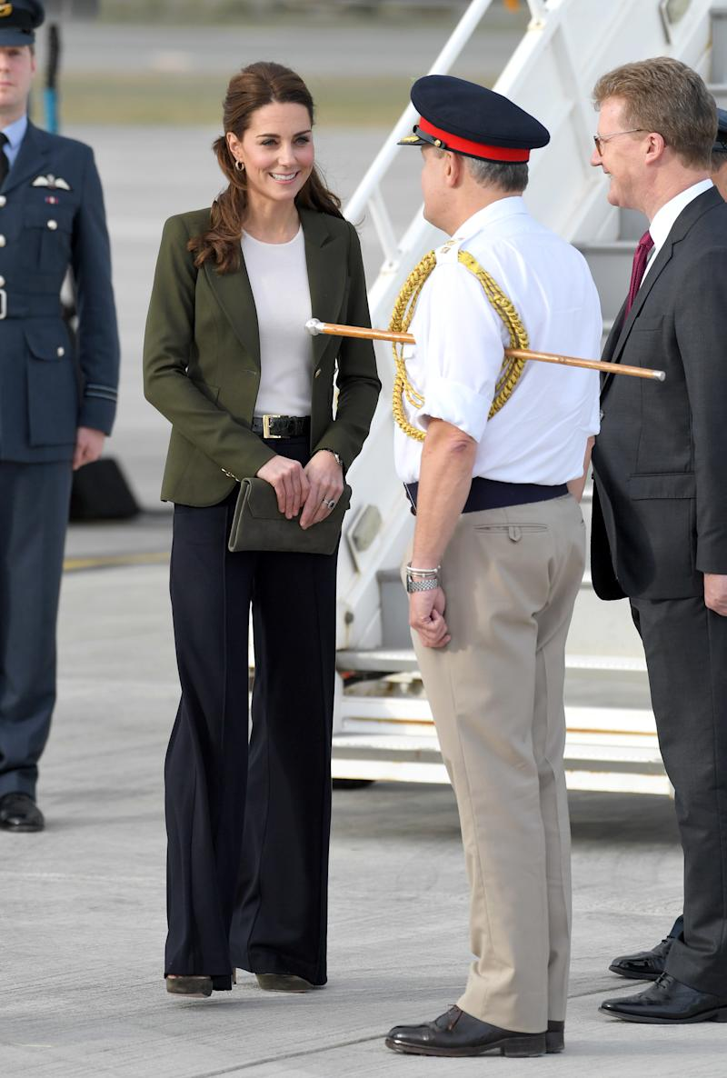 The Duchess of Cambridge arrives at RAF Akrotiri in Cyprus to meet serving personnel, families living on the base and members of the local community during an official visit on Dec. 5, 2018. (Karwai Tang via Getty Images)