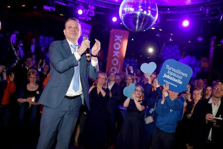 Chairman of National Coalition Party Petteri Orpo attends the parliamentary election party in Helsinki, Finland April 14, 2019. Lehtikuva/Jussi Nukari via REUTERS