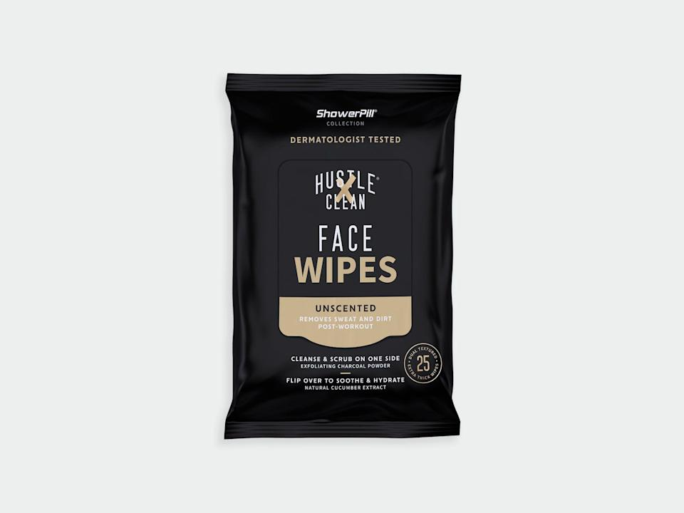 """<p>hustleclean.com</p><p><strong>$7.99</strong></p><p><a href=""""https://www.hustleclean.com/face-wipe/the-showerpill-collection"""" rel=""""nofollow noopener"""" target=""""_blank"""" data-ylk=""""slk:Shop Now"""" class=""""link rapid-noclick-resp"""">Shop Now</a></p><p>If your runner likes to squeeze in workouts during their lunch break or between social events, try gifting them a set of these gentle face wipes. Skincare is <em>important</em>, and we can't have your runner clogging their pores when they don't have to. </p>"""