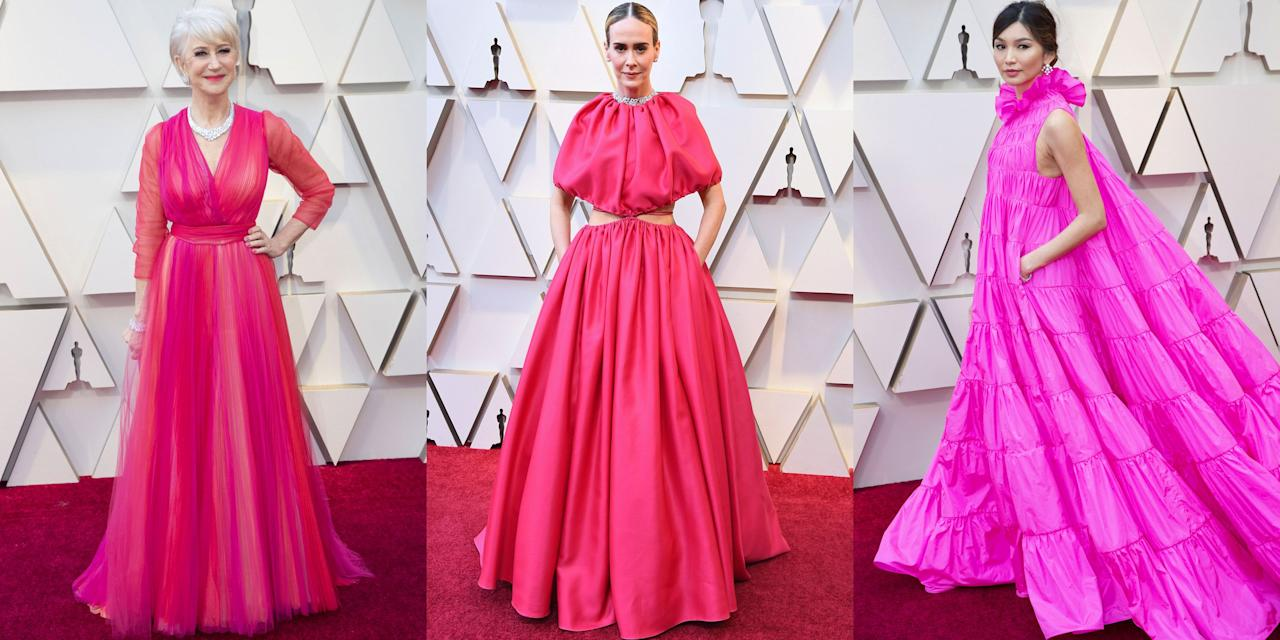 """<p>Gold is often the unofficial color when it comes to the Oscar dress code (it makes sense since, you know, Oscar himself wears gold every year), but in 2019, Valentine's Day hues dominated <a rel=""""nofollow"""" href=""""https://www.marieclaire.com/fashion/g26446320/oscars-best-dressed-2019/"""">the red carpet</a>. Stars including Helen Mirren, Gemma Chan, and Kacey Musgraves all wore shades of pink (and large, fluffy, tulle extravaganzas in shades of pink, at that), while Rachel Weisz, Emma Stone, and Jennifer Hudson wore bold red gowns that matched the carpet. It seemed like every other look was some pretty pinky number.</p><p>Helen Mirren even commented on the fact that she and Jason Momao were coordinated when they took the stage to present the award for Best Documentary Feature together (men can wear pink!). Here, all the red carpet looks that gave us V-Day vibes. </p>"""