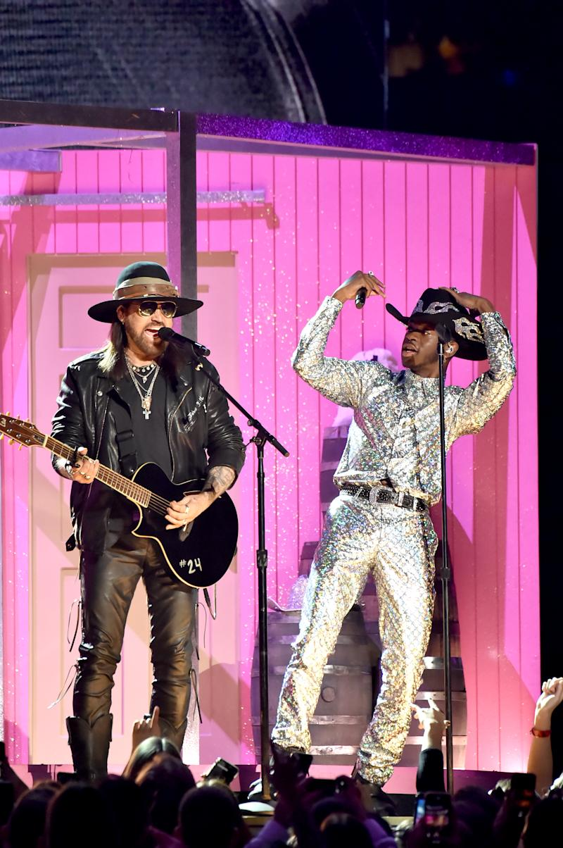 LOS ANGELES, CALIFORNIA - JANUARY 26: Lil Nas X and Billy Ray Cyrus preform onstage during the 62nd Annual GRAMMY Awards at Staples Center on January 26, 2020 in Los Angeles, California. (Photo by Jeff Kravitz/FilmMagic)