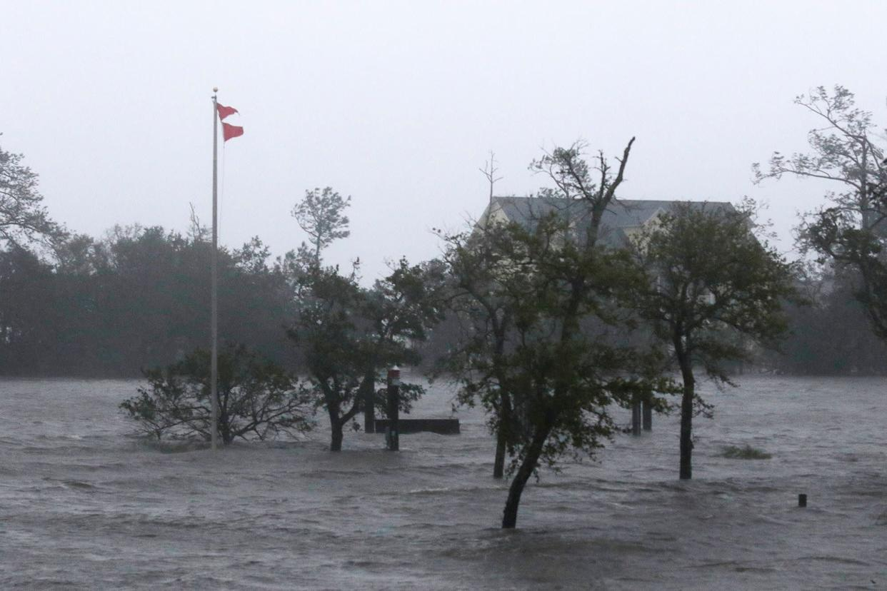 High winds and storm surge from Hurricane Florence hits Swansboro on Friday.