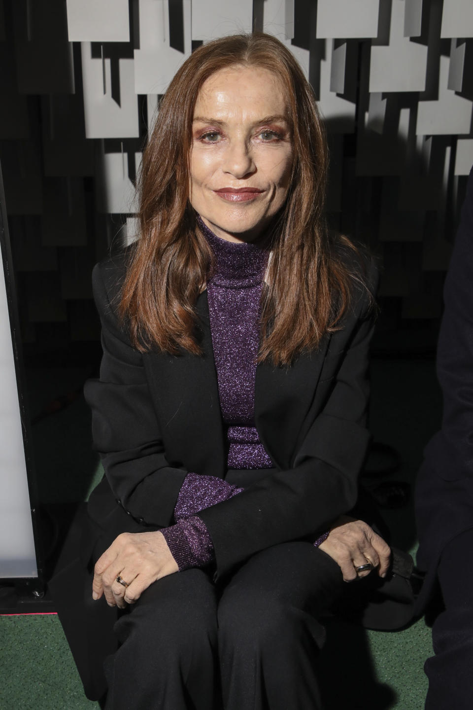 Isabelle Huppert attends the Stella McCartney Spring-Summer 2022 ready-to-wear fashion show presented in Paris, Monday, Oct. 4, 2021. (Photo by Vianney Le Caer/Invision/AP)