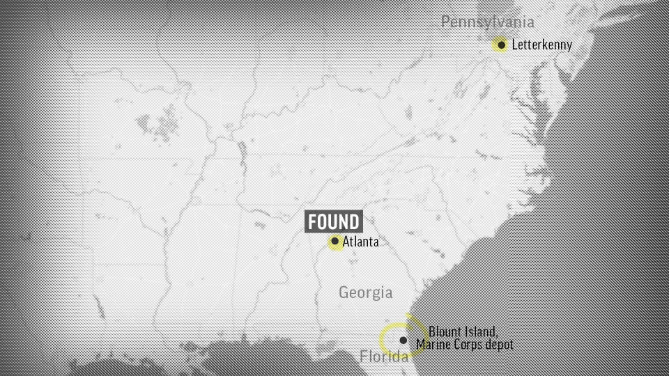 A map showing Blount Island, a U.S. Marine Corps depot from which the ammunition train departed; Letterkenny Army Depot, where the theft was discovered; and Atlanta, where some of the armor-piercing grenades were recovered. (AP Graphic)
