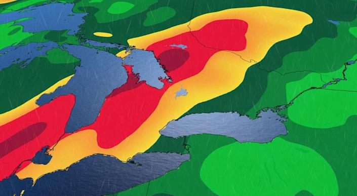 Warnings issued for widespread soaking rain that threatens 100 mm over Ontario