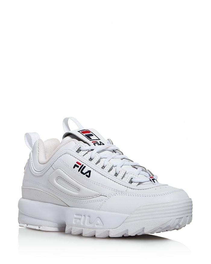 """Dad sneakers"" are the trend that won't fade because they're easy to wear <em>and</em> they won't make your feet hate you. If you don't know where to begin, try the Fila Disruptor, beloved by celebrities like Sarah Hyland, Katy Perry, and Emily Ratajkowski. It's finally back in stock, so it's time to see what all the hype is about. $86, Revolve. <a href=""https://www.revolve.com/r/DisplayProduct.jsp?aliasURL=fila-disruptor-ii-premium-sneaker-in-white-navy-red%2Fdp%2FFILR-WZ1&d=F&countrycode=GB&_cclid=Google_CjwKCAjw1rnqBRAAEiwAr29IIydu06AcSeX5r4J3XfIGBaDlSSMDn0xDydEDS71P7GtvuNG6HmBSgRoCDocQAvD_BwE&gclid=CjwKCAjw1rnqBRAAEiwAr29IIydu06AcSeX5r4J3XfIGBaDlSSMDn0xDydEDS71P7GtvuNG6HmBSgRoCDocQAvD_BwE&product=FILR-WZ1"">Get it now!</a>"