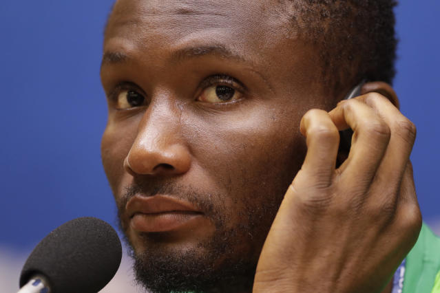 Nigeria's John Obi Mikel attends a press conference on the eve of the group D match between Croatia and Nigeria at the 2018 soccer World Cup in the Kaliningrad Stadium in Kaliningrad, Russia, Friday, June 15, 2018. (AP Photo/Petr David Josek)