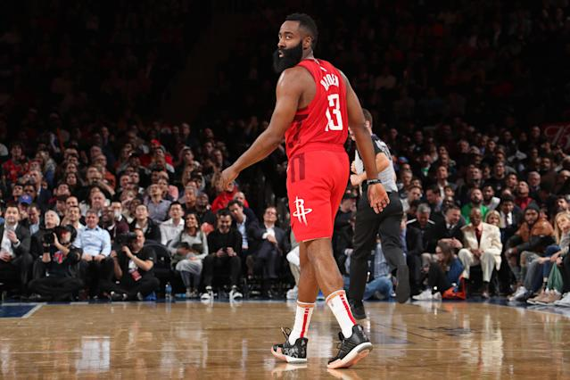 After a slow first half, James Harden dropped 35 points on Friday night to extend his historic scoring streak against the Toronto Raptors. (Nathaniel S. Butler/Getty Images)