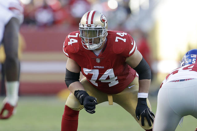 FILE - In this Nov. 12, 2017, file photo, San Francisco 49ers offensive tackle Joe Staley (74) lines up against the New York Giants during an NFL football game in Santa Clara, Calif. Staley announced Saturday, April 25, 2020, that he is retiring from the NFL. (AP Photo/Marcio Jose Sanchez, FIle)